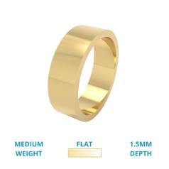RDWG029Y - Verighetă bărbați din aur galben 18kt, lustruită, greutate medie, profil plat