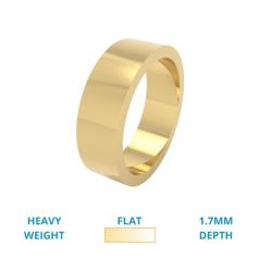 RDWG029YH - 18kt Gelbgold Herren flacher Schwergewicht polierter Ehering