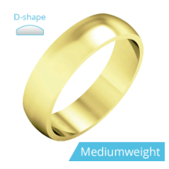 Plain Wedding Band for Men in 9ct Yellow Gold, Polished, D Shaped, Medium Weight