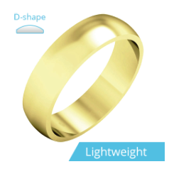 Plain Wedding Band for Men in 9ct Yellow Gold, Polished, D Shaped, Light Weight