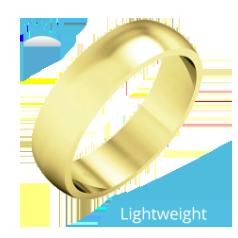 Einfacher Ehering für Mann in 9kt Gelbgold, poliert, D-förmiges Profil, Leichtgewicht