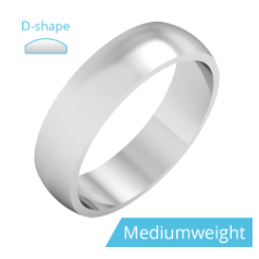 Plain Wedding Band for Men in Palladium, Polished, D Shaped, Medium Weight