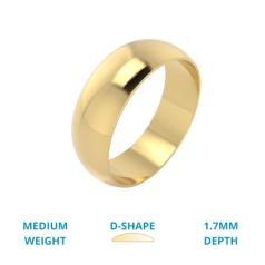 RDWG030Y - Verighetă bărbați din aur galben 18kt semibombată, lustruită, greutate medie.