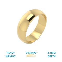 RDWG030YH - Verighetă bărbați din aur galben 18kt semibombată, lustruită, greutate mare.