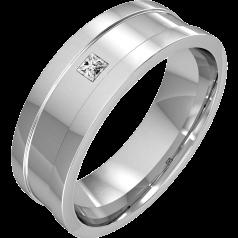 RDWG034W - 18kt Weissgold Herren 6.75mm Ehering mit einem Princess Schliff Diamanten