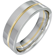 Plain Wedding Ring for Men in 18ct White Gold with a Single Yellow Gold Groove, Width 6.75mm