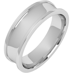 Plain Wedding Band for Men in Palladium with a Dished Centre and Raised Edges, Width 6mm