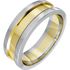 Plain Wedding Ring for Men in 18ct Yellow Gold with Raised White Gold Edges, With 6.25mm