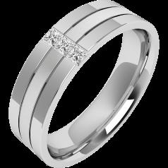 Verigheta/Inel cu Diamant Barbat Platina cu 3 Diamante Princess, Latime 6.5mm, Centru Sablat, Margini Lustruite