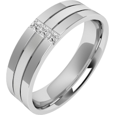 RDWG044U - Palladium Herren 6.5mm Ehering mit 3 Princess Schliff Diamanten, sandgestrahlter Mitte, und hochglanzpolierten Kanten