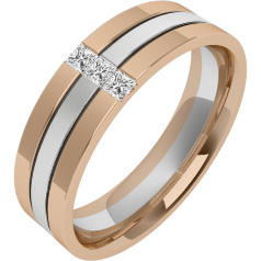 Diamond Ring/Diamond set Wedding Ring for Men in 18ct white and rose gold with 3 princess cut diamonds, sandblasted middle & polished edges, width 6.5mm