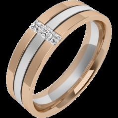 Verigheta/Inel cu Diamant Barbat Aur Alb si Aur Roz 18kt cu 3 Diamante Princess, Latime 6.5mm, Centru Sablat, Margini Lustruite