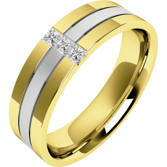 Diamond Ring/Diamond set Wedding Ring for Men in 18ct white and yellow gold with 3 princess cut diamonds, sandblasted middle & polished edges, width 6.5mm