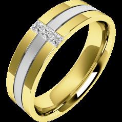 RDWG044WY - 18kt aur alb si aur galben verigheta barbati, latime 6.5mm, cu 3 diamante princess , cu un rand central sablat & margini lustruite