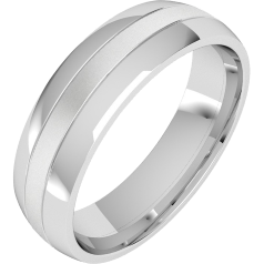 Plain Wedding Band for Men in Palladium Court Profile with a Sandblasted Centre Row