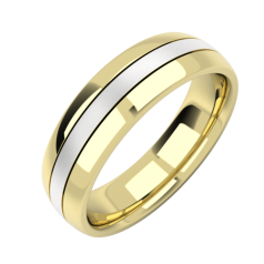 Plain Wedding Band for Men in 18ct Yellow and White Gold Court Profile with a Sandblasted Yellow Gold Centre Row, Width 6mm