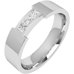 Diamond Ring/Diamond set Wedding Ring for Men in 18ct white gold with 3 princess cut diamonds, flat top/courted inside, width 6mm