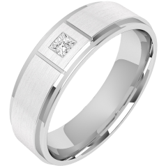 Diamond Ring/Diamond set Wedding Ring for Men in 18ct white gold with a princess cut diamond and sandblasted, width 6mm