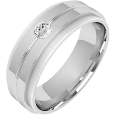 Diamond Ring/Diamond set Wedding Ring for Men in palladium with a round brilliant cut diamond in a thin channel, flat top/courted inside, width 6mm