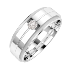 Diamond Ring/Diamond set Wedding Ring for Men in 18ct white gold with a round brilliant cut diamond in a thin channel, flat top/courted inside, width 6mm