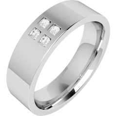 Diamond Set Wedding Ring for Men in Palladium with 4 Round Brilliant Cut Diamonds in The Centre, Flat Top/Courted Inside
