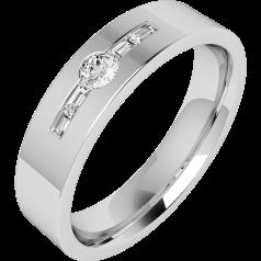 RDWG050PL - Verighetă din platină bărbaţi 6mm exterior plat/ interior rotunjit cu un diamant central rotund brilliant, şi 2 diamante tăietura baghetă pe fiecare parte
