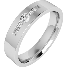Diamond Ring/Diamond set Wedding Ring for Men in 18ct white gold with a round brilliant cut diamond and 2 baguette cut diamonds, flat top/courted inside, width 6mm