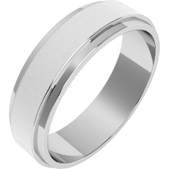 Plain Wedding Band for Men in Palladium, Sandblasted with polished Dropped Edges, Flat Top/Courted Inside