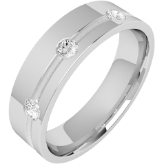 Diamond Ring/Diamond set Wedding Ring for Men in palladium with 3 round brilliant cut diamonds along a thin channel on one side, flat top/courted inside, 6mm