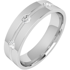 Diamond Ring/Diamond set Wedding Ring for Men in palladium with 3 round brilliant cut diamonds along a thin channel in the centre, flat top/courted inside, 6mm