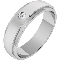 Diamond Set Wedding Ring for Men in Palladium with a Round Brilliant Cut Diamond and Court Profile, Width 6mm