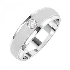 Verigheta cu Diamant Barbat Aur Alb 18kt cu un Diamant Rotund Briliant Profil Bombat Latime 6mm