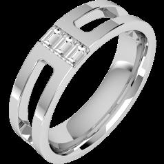 Verigheta/Inel cu Diamant Barbat Platina cu 3 Diamante Bagheta, Top Plat, Interior Rotunjit, Latime 6mm