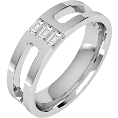 Diamond Ring/Diamond set Wedding Ring for Men in 18ct white gold with 3 baguette cut diamonds, flat top/courted inside, 6mm wide