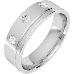 Diamond Ring/Diamond set Wedding Ring for Men in platinum with 3 round brilliant cut diamonds on one side & a channel on the other, flat top/courted inside, width 6mm