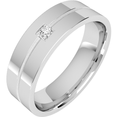 Diamond Ring/Diamond set Wedding Ring for Men in 18ct white gold with a princess cut diamond in the centre on a thin channel, flat top/courted inside, width 6mm