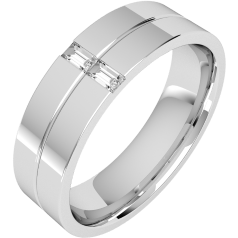 Diamond Ring/Diamond set Wedding Ring for Men in 18ct white gold with 2 baguette cut diamonds, flat top/courted inside, width 6mm