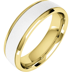Plain Wedding Band for Men in 18ct  White and Yellow Gold with a Sandblasted Centre, Court Profile, Width 6.25mm
