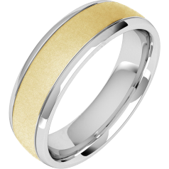 Plain Wedding Band for Men in 18ct Yellow and White Gold with a Sandblasted Centre, Court Profile, Width 6.25mm