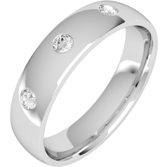 Diamond Ring/Diamond set Wedding Ring for Men in platinum with 3 round brilliant cut diamonds, court profile, 6mm wide
