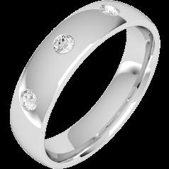Diamantring/Ehering mit Diamanten für Mann in Palladium mit drei runden Brillanten, bombiertes Profil, 6mm breit