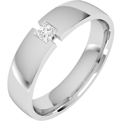 Diamond Ring/Diamond set Wedding Ring for Men in 18ct white gold with a princess cut diamond, court profile, 6mm wide