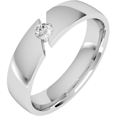 Diamond Ring/Diamond set Wedding Ring for Men in 18ct white gold with a round brilliant cut diamond, court profile, 6mm wide