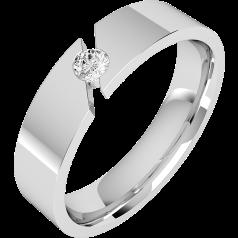 RDWG065PL - Platinum gents 6mm flat top/courted inside round brilliant cut diamond set wedding ring