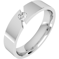 RDWG065W - 18ct white gold gents 6mm flat top/courted inside round brilliant cut diamond set wedding ring