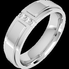 Diamond Ring/Diamond set Wedding Ring for Men in palladium with 3 round diamonds, flat top/courted inside, width 6mm