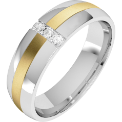 Diamond Ring/Diamond set Wedding Ring for Men in 18ct yellow and white gold with 3 round brilliant cut diamonds, court profile, width 6mm