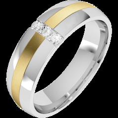 Verigheta cu Diamant Barbat Aur Alb si Aur Galben 18kt cu 3 Diamante Rotund Briliant, Profil Bombat, Latime 6mm