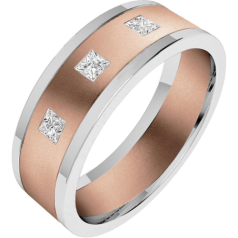 Diamond Ring/Diamond set Wedding Ring for Men in 18ct rose and white gold with 3 princess cut diamonds, flat toppped/courted inside, width 6.25mm