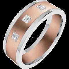 Verigheta/Inel cu Diamant Barbat Aur Roz si Aur Alb 18kt cu trei Diamante Princess, Latime 6.25mm, Top Plat, Interior Rotunjit